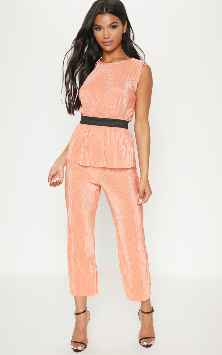 Orange Plisse Pleated Culottes