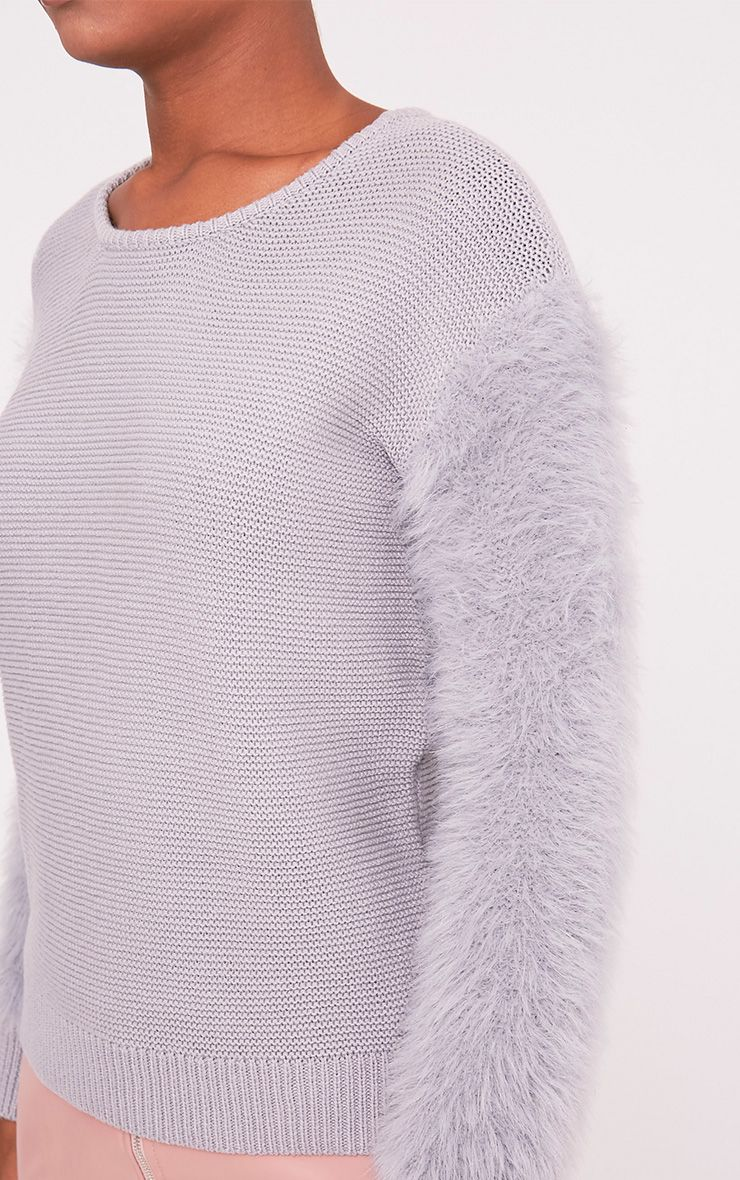 Rene Grey Fluffy Sleeve Fine Knit Jumper 6