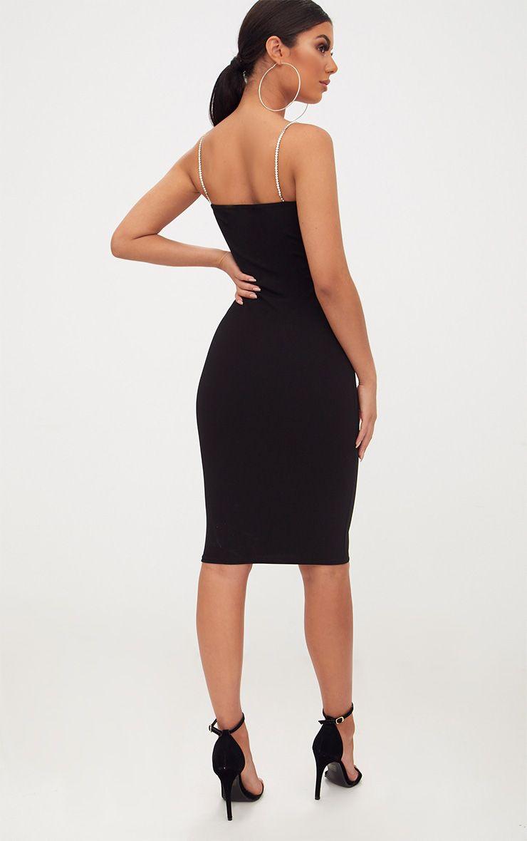 Black Diamante Strap Straight Neck Midi Dress Pretty Little Thing Cheap Sale Original Outlet Discount Authentic Cheap Sale Official Exclusive Iu3Dj5
