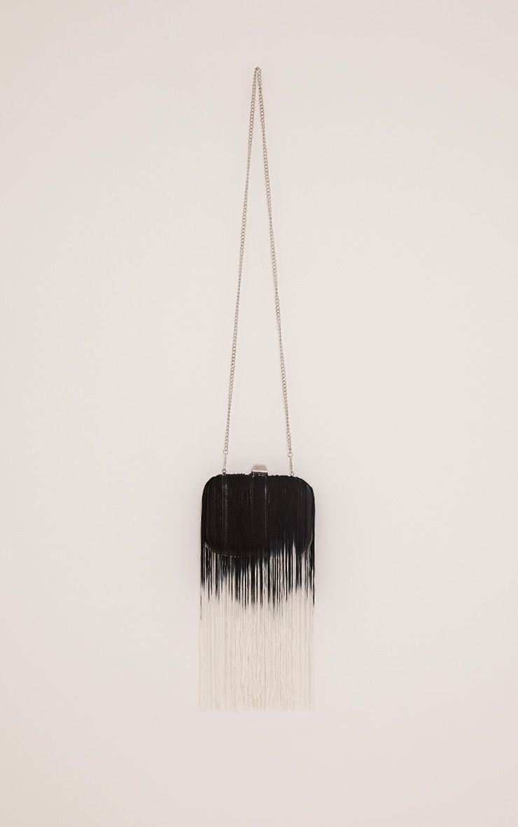 Klio Black Ombre Fringe Box Clutch Bag 1