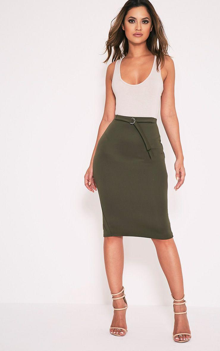 Reyna Khaki D-Ring Belt Scuba Midi Skirt 1