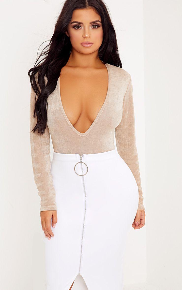 Shape Camryn Champagne Long Sleeve Plunge Bodysuit