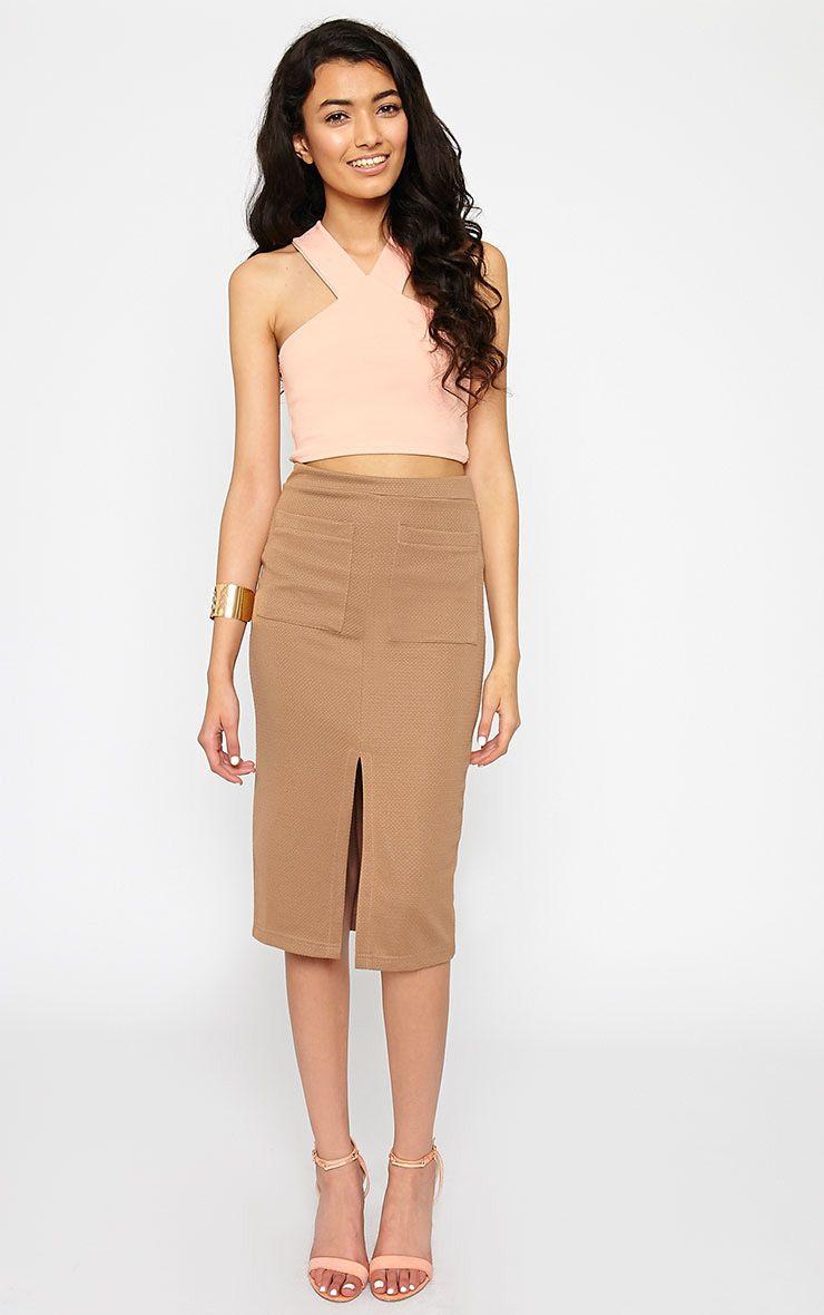 Nala Camel Pencil Pocket Skirt 1