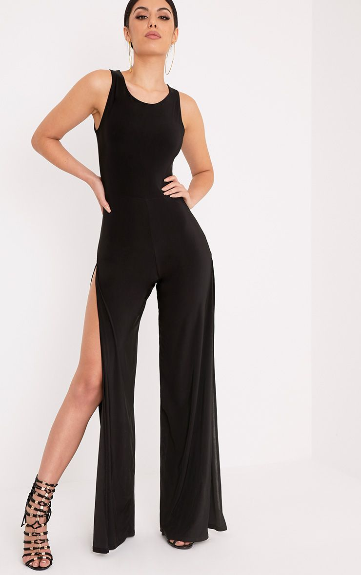 Chanice Black Thigh Split Jumpsuit