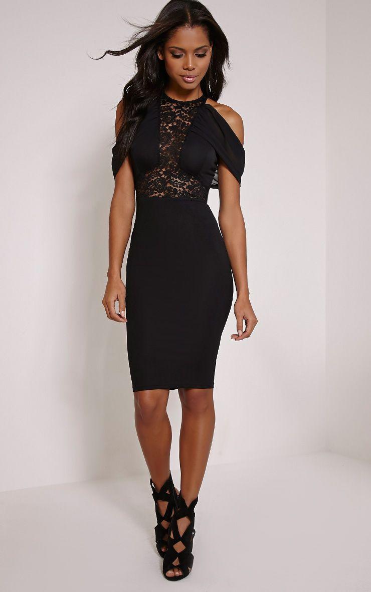 Taya Black Lace Insert Frill Midi Dress 1
