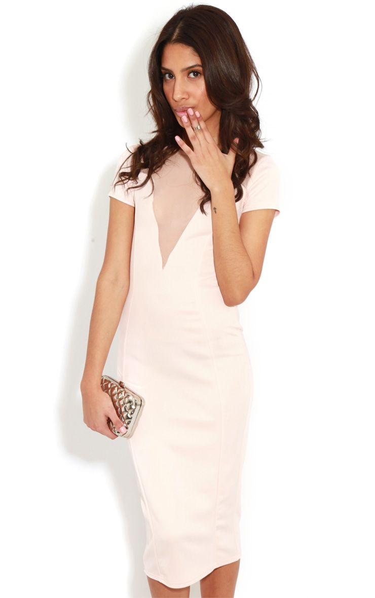 Whitney Pink Mesh Panel Midi Dress 1