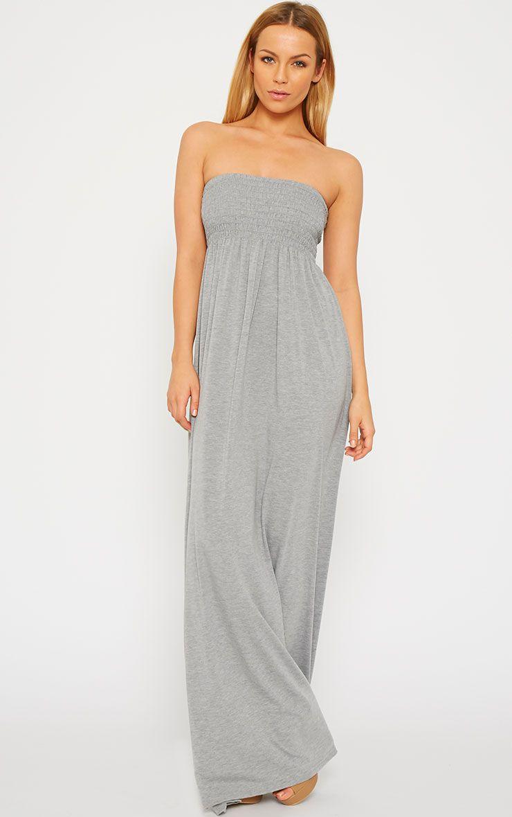 Tamara Grey Elasticated Bandeau Jersey Maxi Dress 1