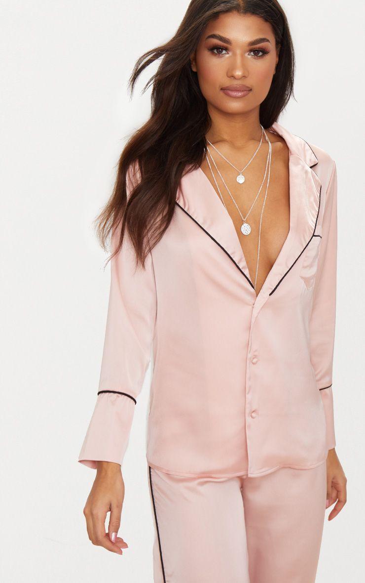 Rose Satin Contrast Seam Oversized Shirt