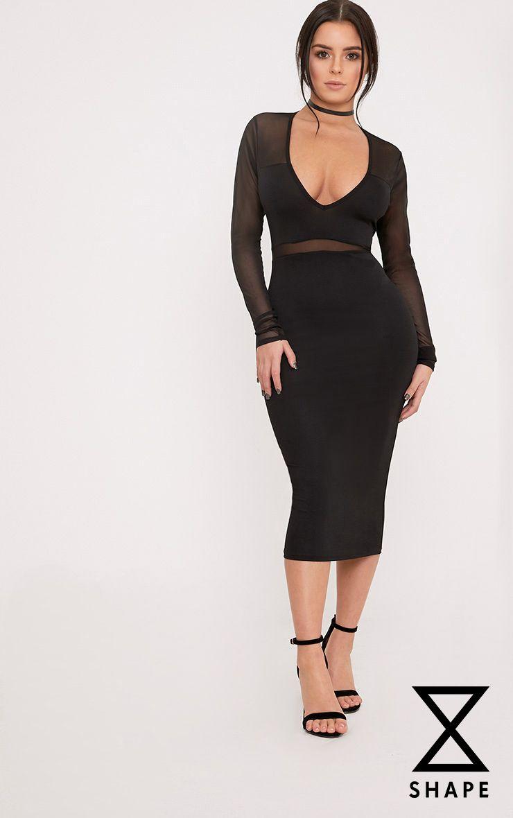 Shape Siennah Black Crepe Panel Midi Bodycon Dress