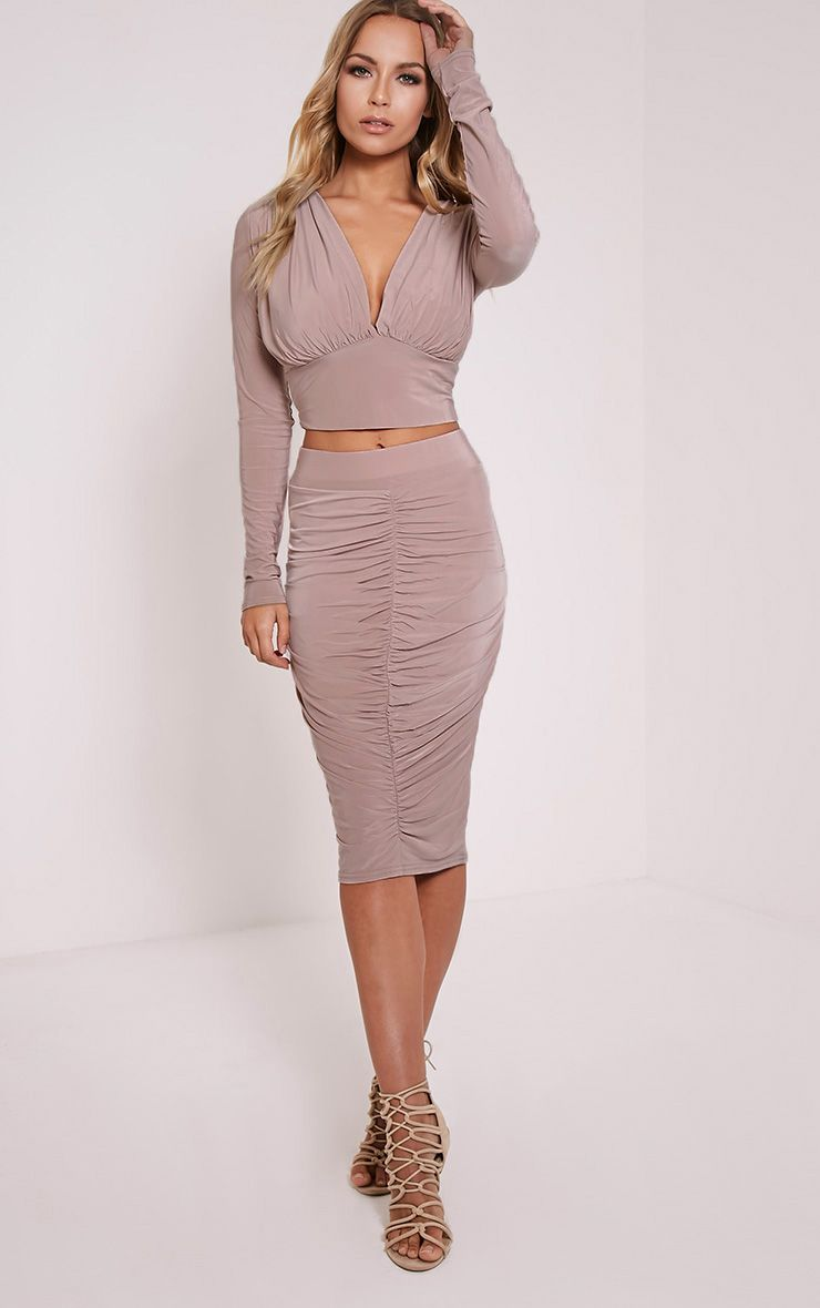 Nicole Dusty Pink Slinky Ruched Midi Skirt 1