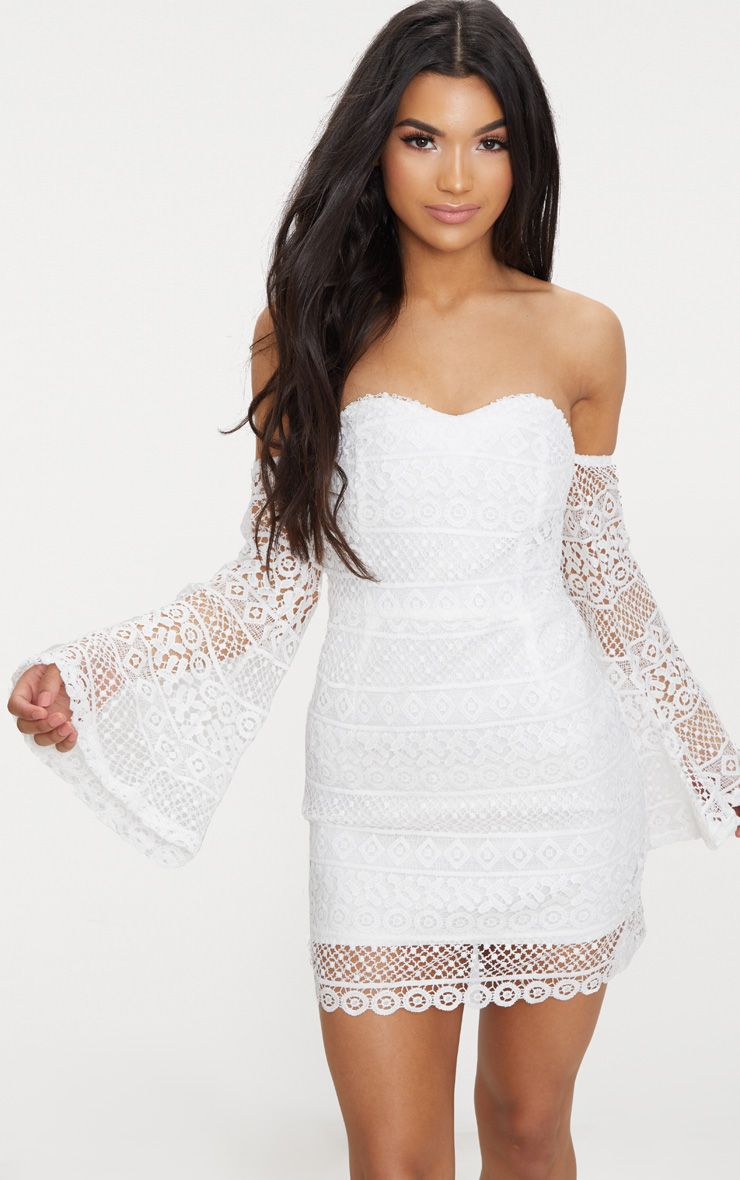 White Lace Flare Sleeve Bardot Bodycon Dress 1