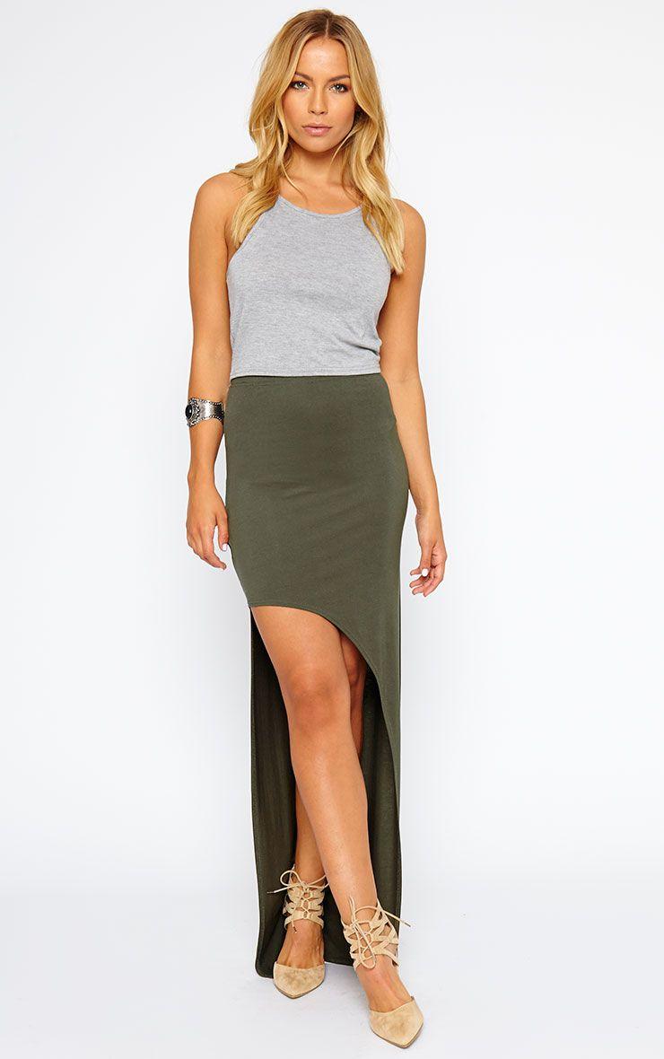 Ashlene Khaki Curve Split Jersey Maxi Skirt 1
