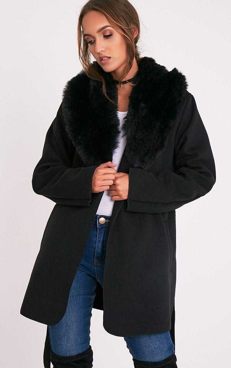 Lydia manteau noir effet cascade bordé de fausse fourrure 1
