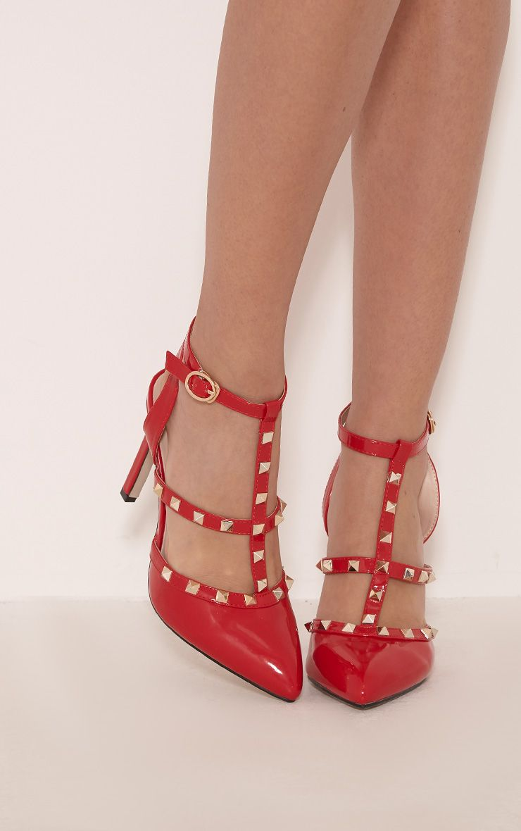 Eloisa Red Patent Pointed Studded Heels 1