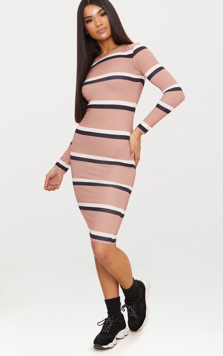 Nude Striped Long Sleeve Midi T Shirt Dress