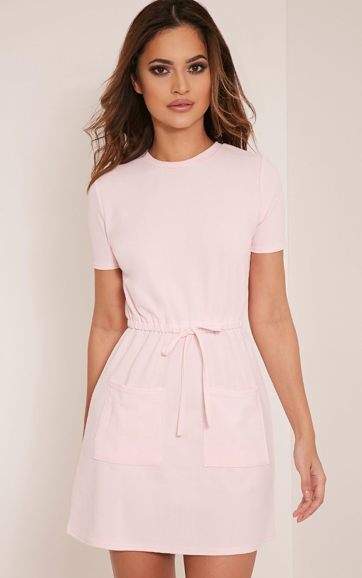 Erin Baby Pink Tie Waist T Shirt Dress Pink