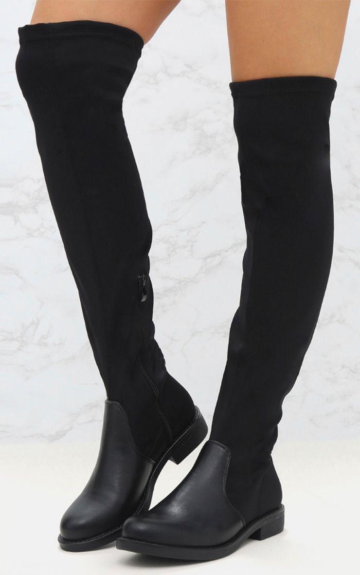 cuissardes plates noires effet chaussettes chaussures. Black Bedroom Furniture Sets. Home Design Ideas