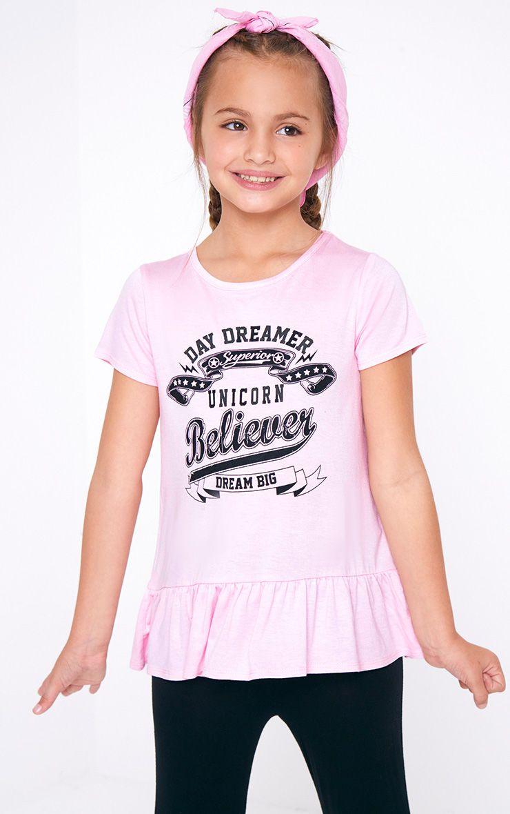 Pink Frill Hem Printed T Shirt