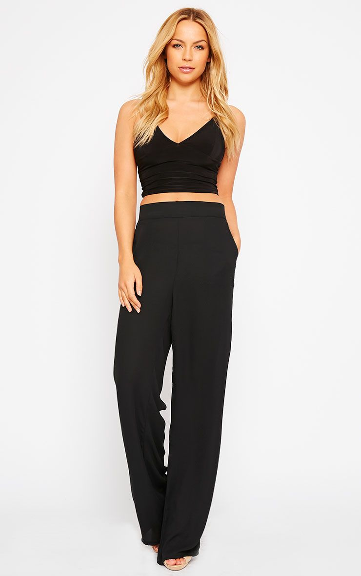 Theadora Black Chiffon Wide Leg Trousers 1