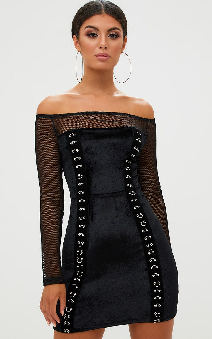 Black Fishnet Ring Detail Bardot Bodycon Dress