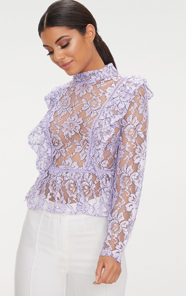 Lilac Frill Front Lace Blouse  1