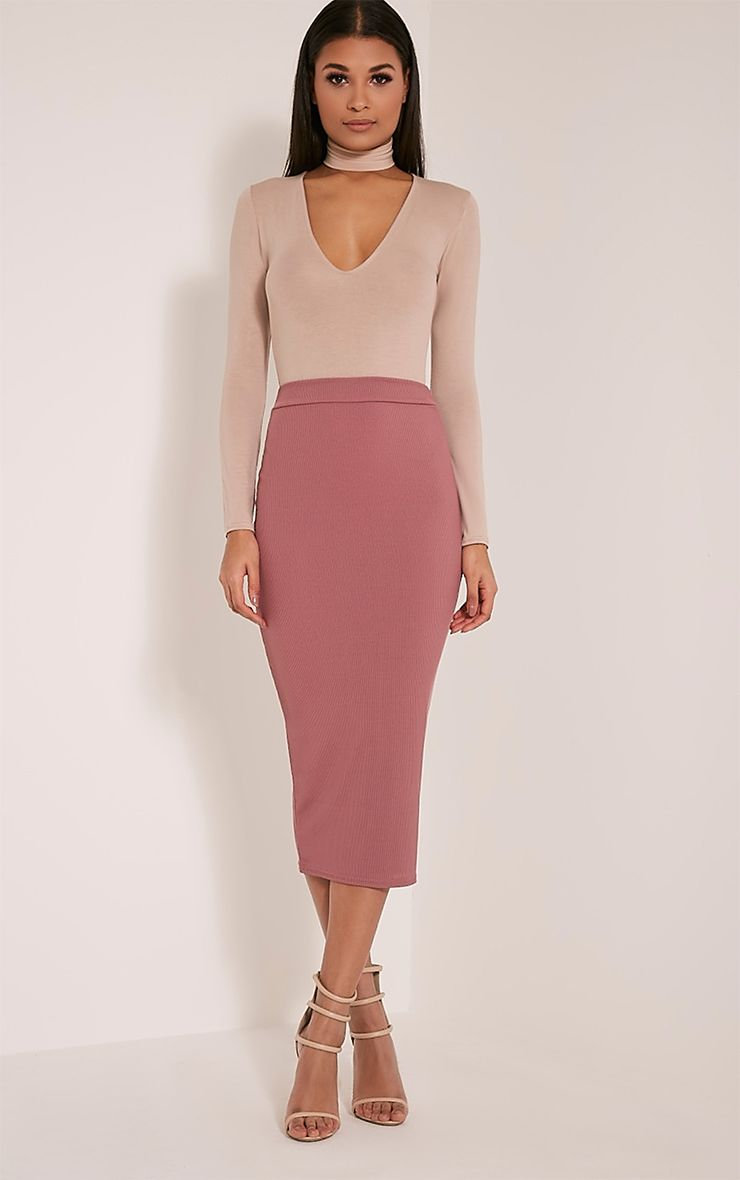 Sela Rose Fine Ribbed Midi Skirt 1