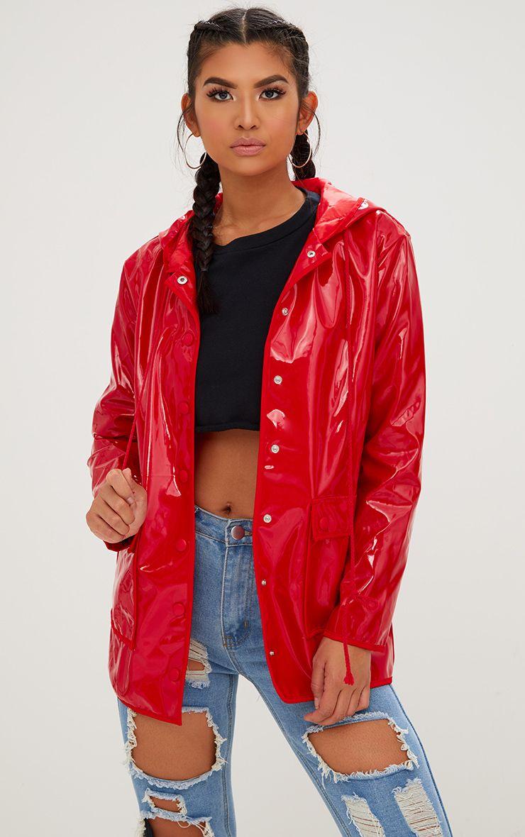 Red Vinyl Rain Mac
