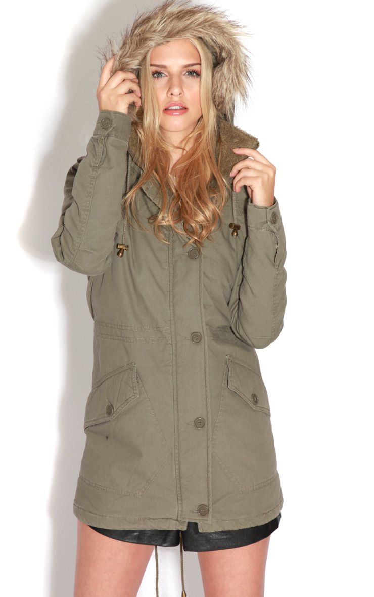 Jameel Khaki Coat With Grey Fur Lined Hood 1
