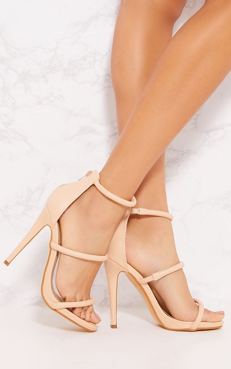 Nude Triple Strap Tube Heeled Sandal 1