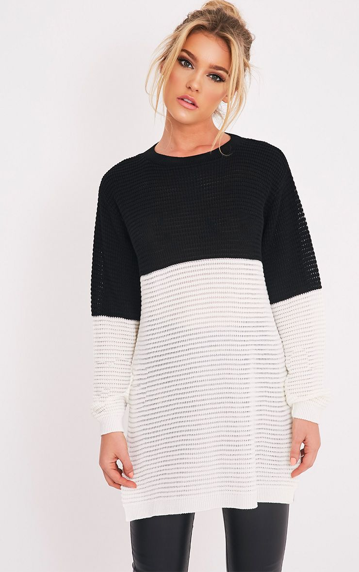 Varla Monochrome Colour Block Side Split Jumper