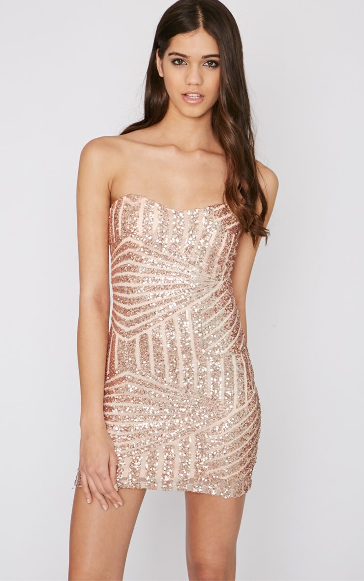 Saddiah Rose Gold Sequin Strapless Mini Dress 1