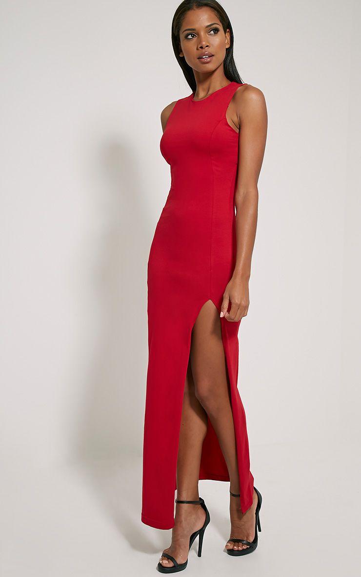 Karina Red Front Split Dress 1