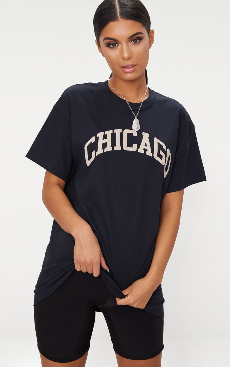 Black Chicago Slogan Oversized T Shirt
