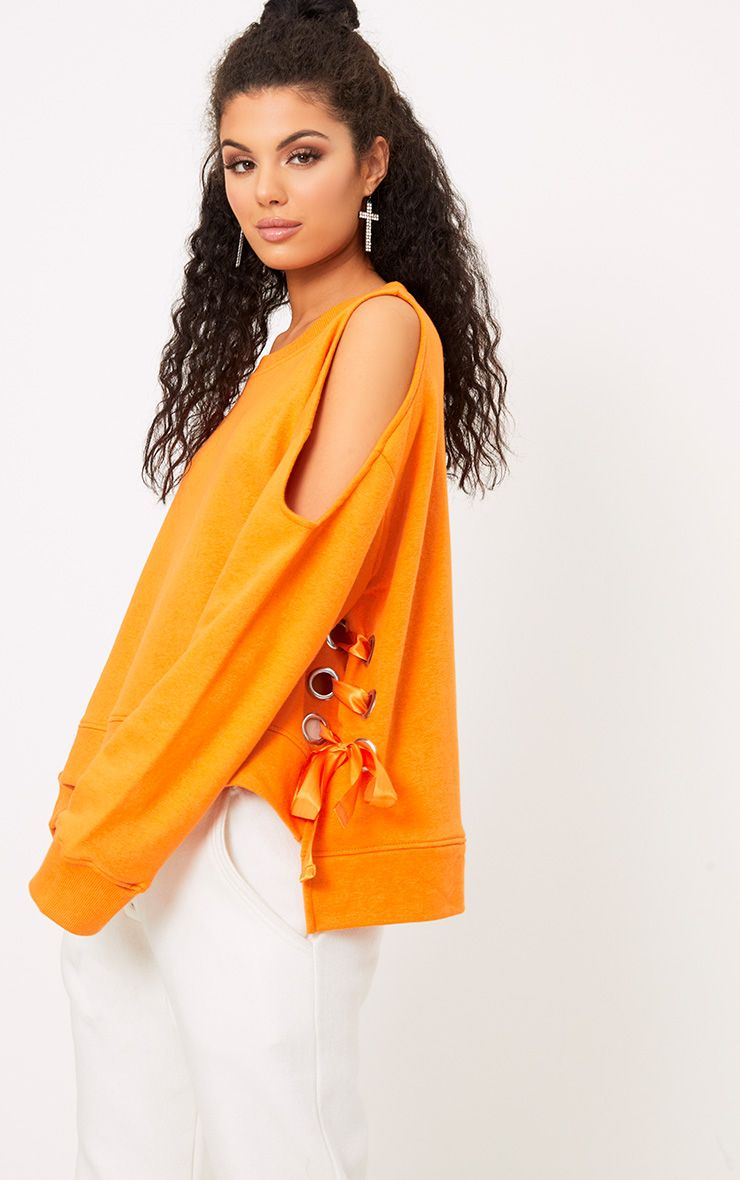 Hansini Orange Lace Up Detail Sweater 1