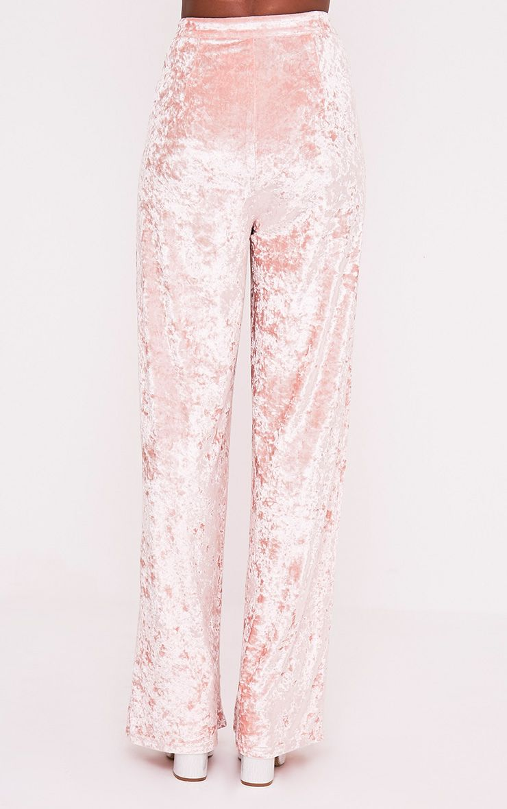 Marisha Blush Crushed Velvet Wide Leg Trousers 5