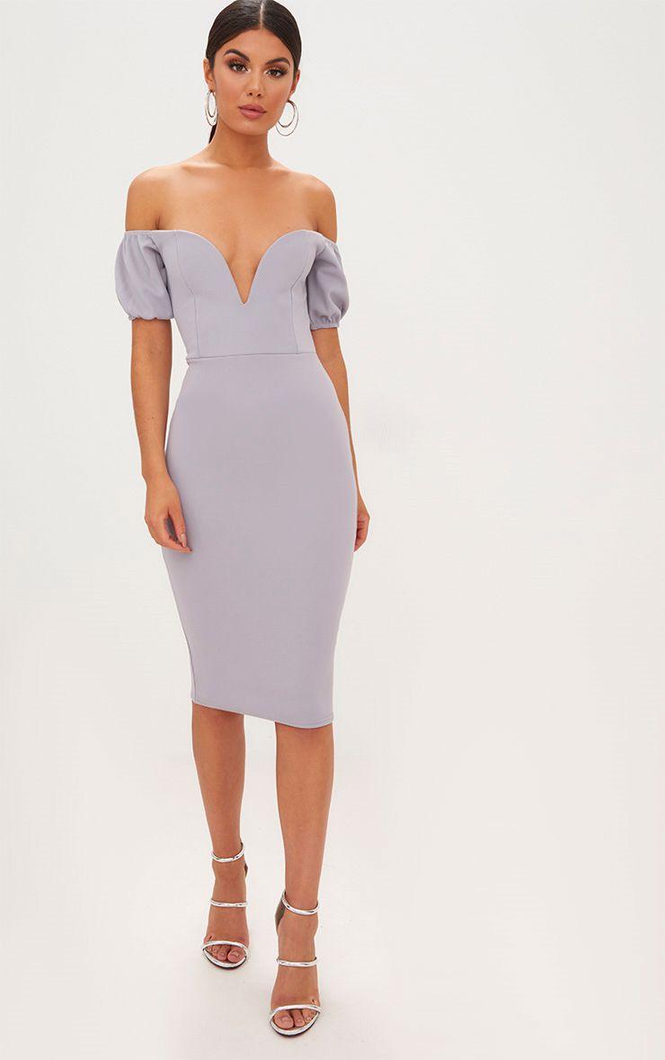 Ice Grey Bardot Puff Sleeve Midi Dress