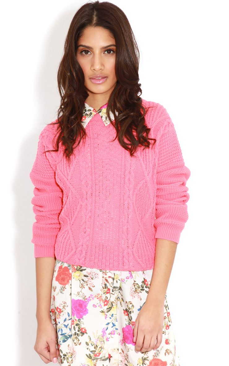Alina Coral Cable Knit Jumper  1