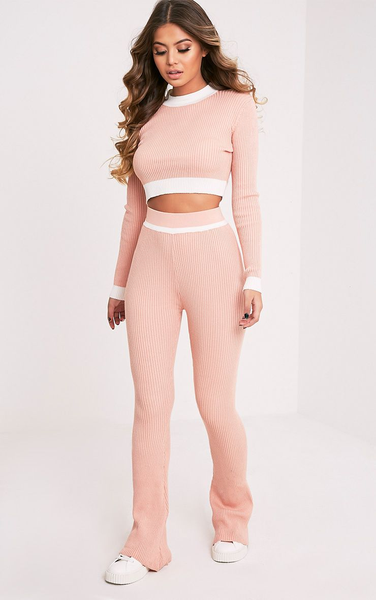 Sufiya Nude Colour Block Knit Ribbed Trousers