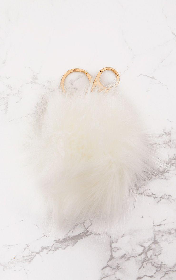 White Faux Fur Pom Pom Keyring