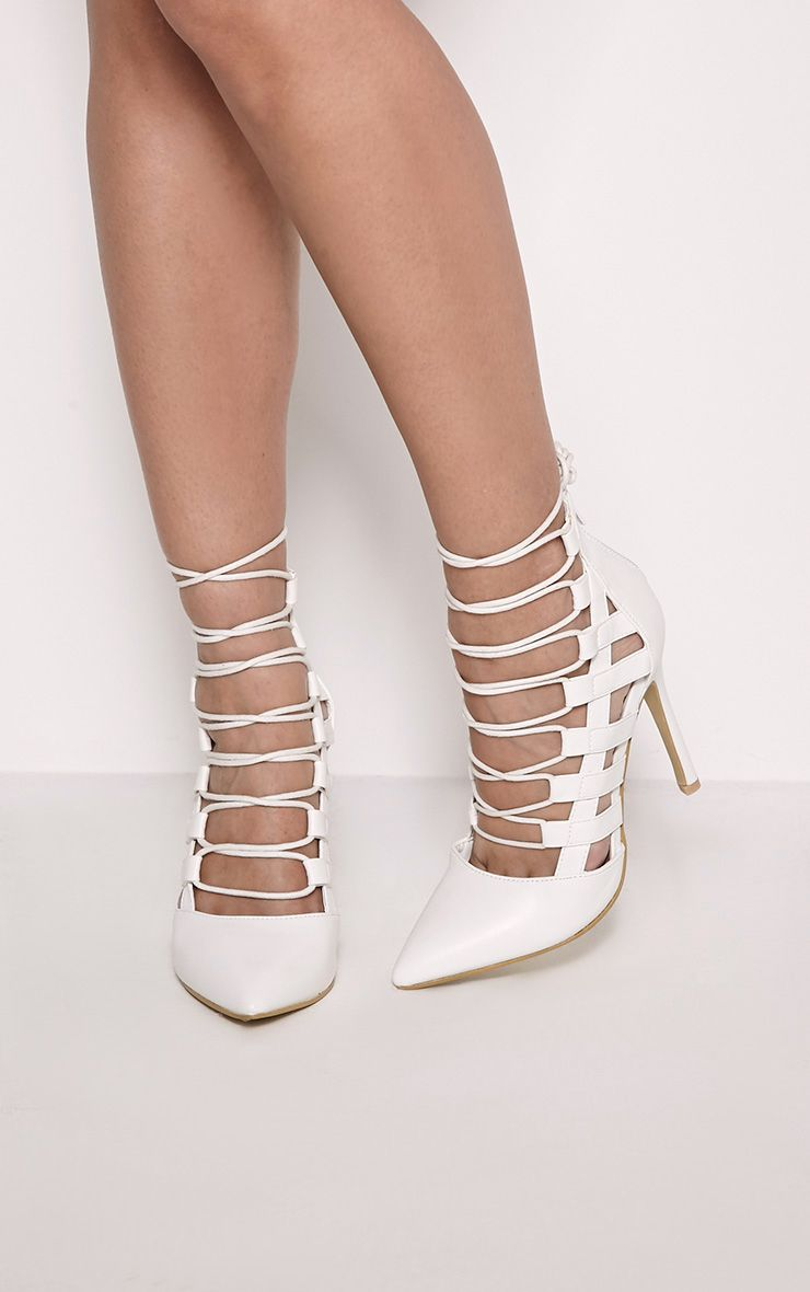 Amaris White Pointed Strappy Heels 1