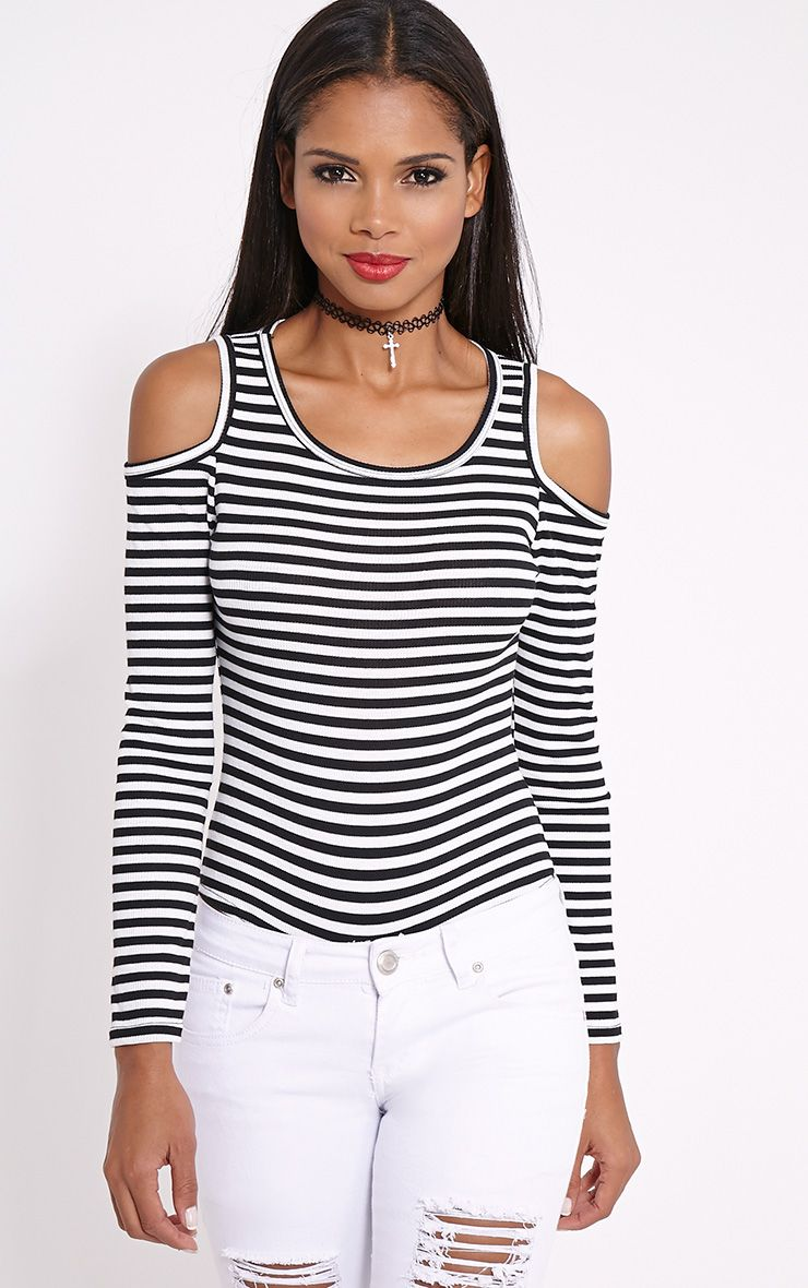 Fenanda Monochrome Striped Cut Out Bodysuit 1