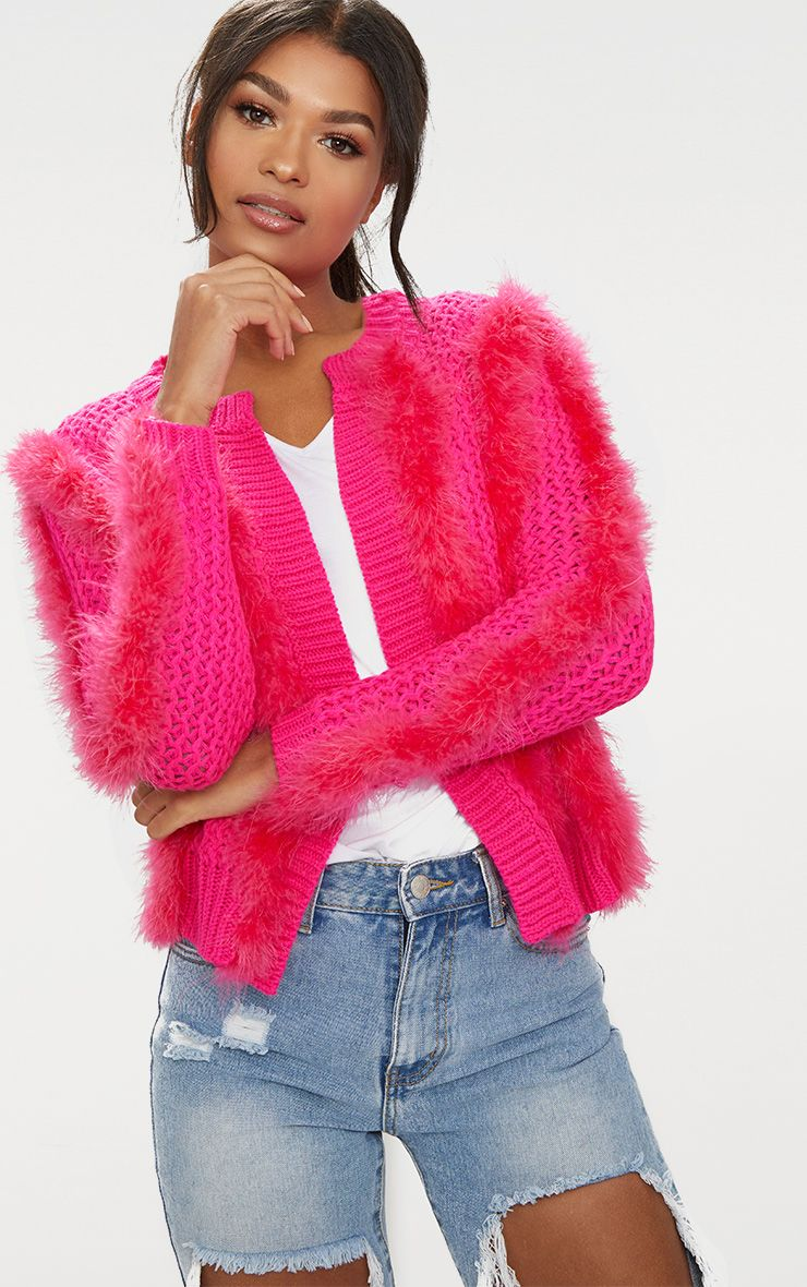 Pink Feather Cardigan