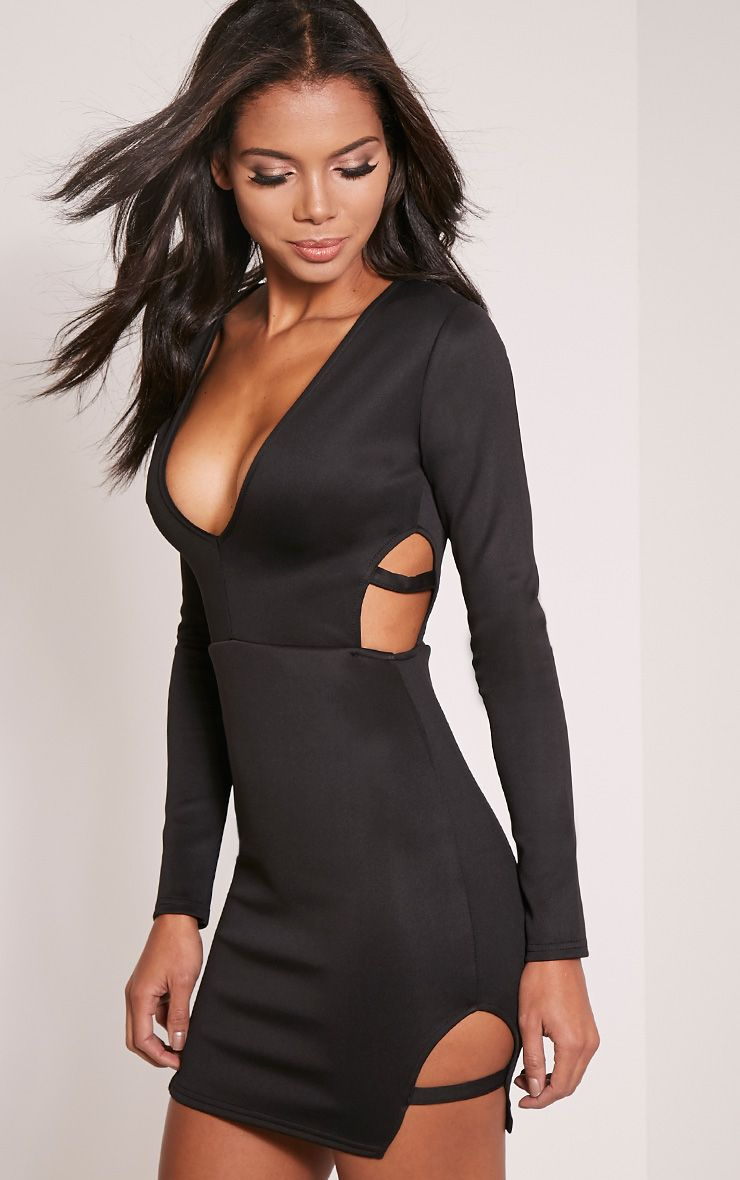 Cristin Black Strap Detail Cut Out Bodycon Dress 1