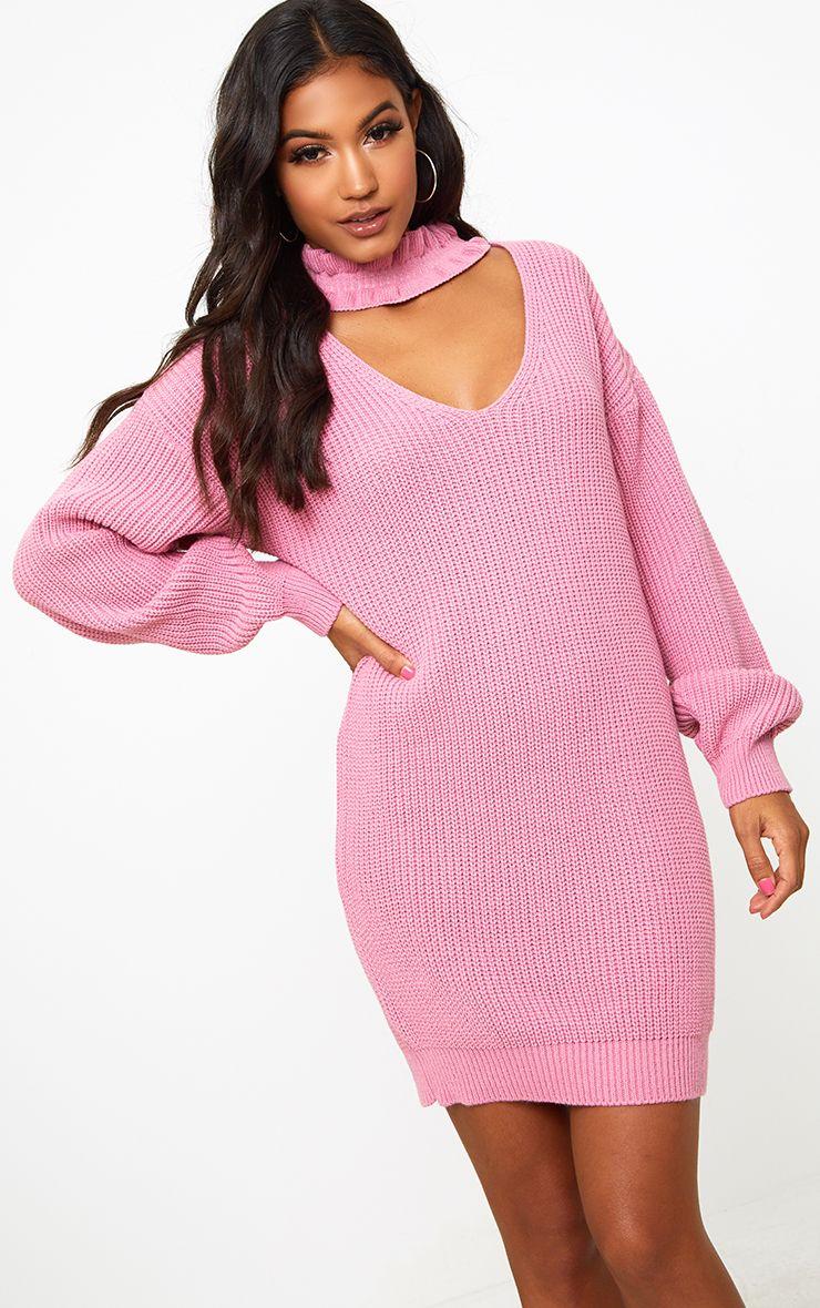 Pink Ruffle Choker Knit Mini Dress
