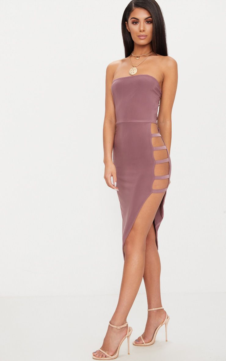 Dark Mauve Bandeau Asymmetric Strap Detail Midaxi Dress