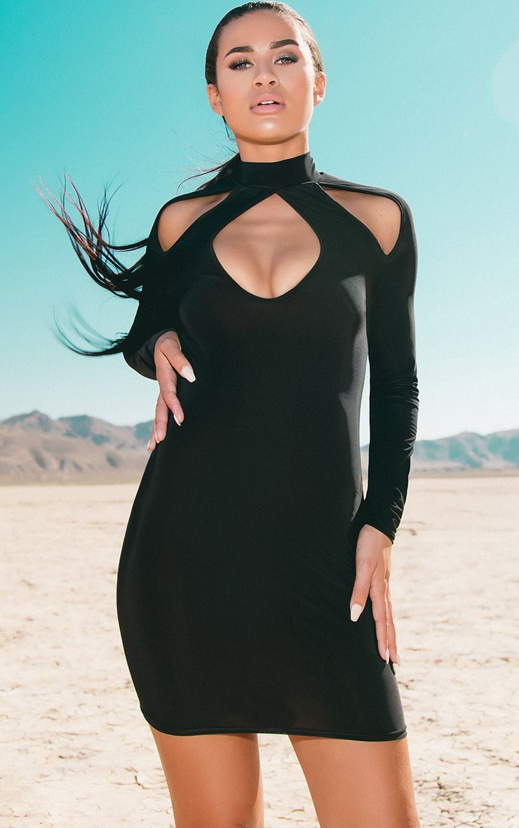 Black Open Arm Detail Long Sleeve Bodycon Dress