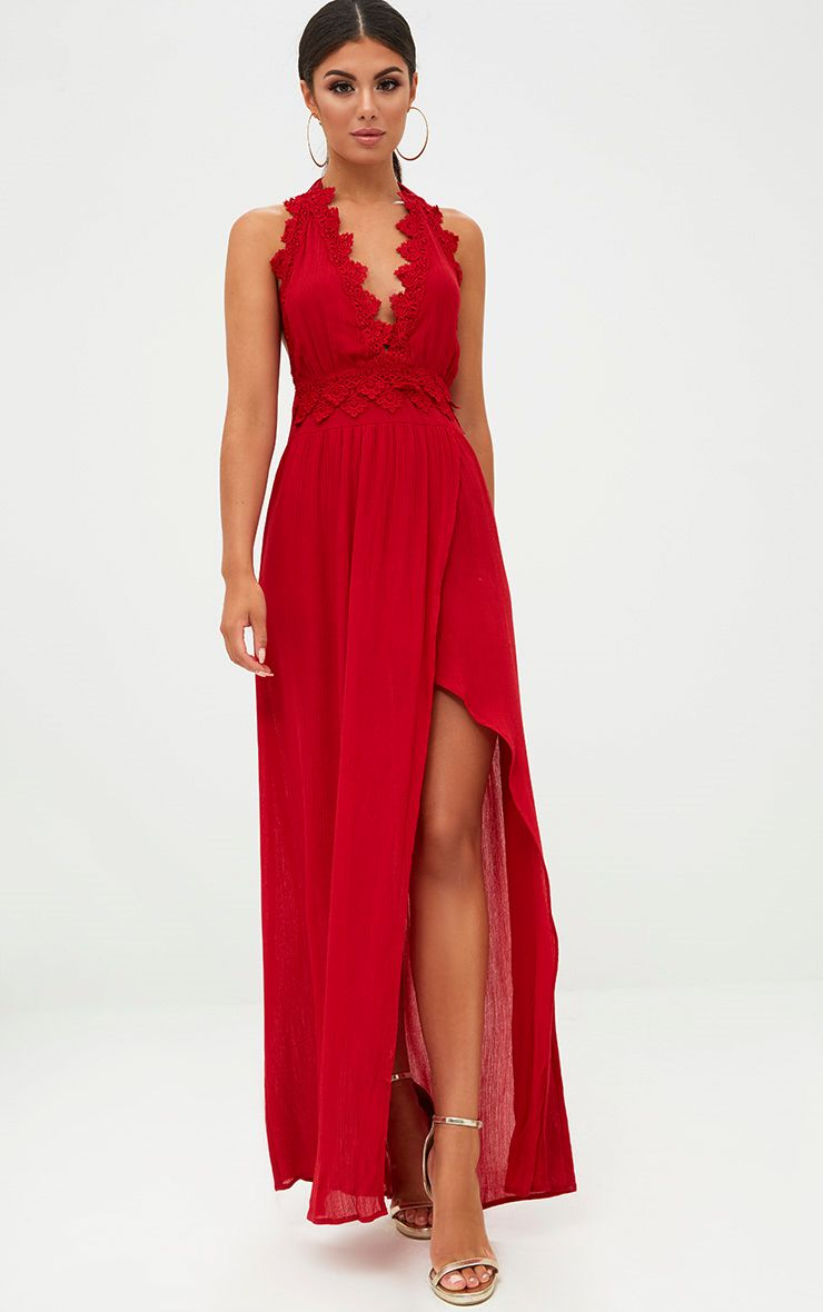 Red Cheesecloth Crochet Trim Maxi Dress