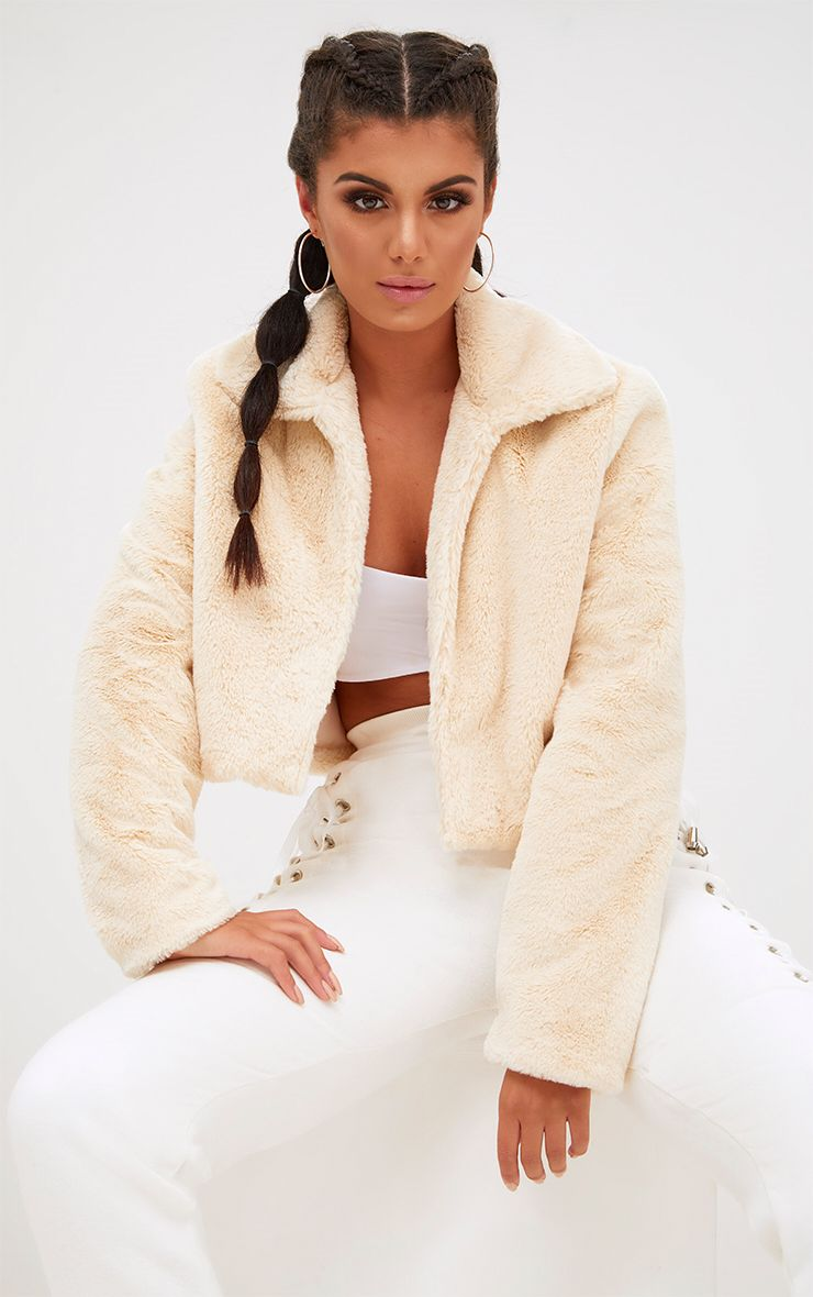 Cream Cropped Faux Fur Coat