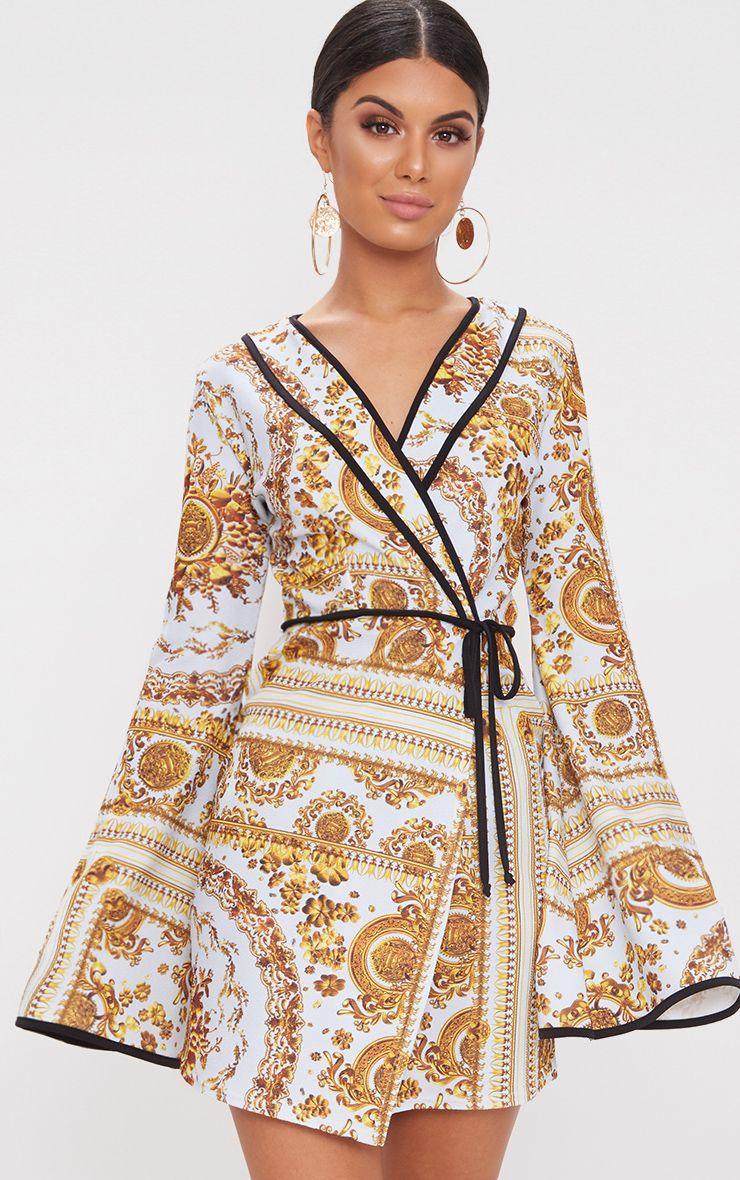 Pale Blue Chain Print Kimono Sleeve Wrap Bodycon Dress