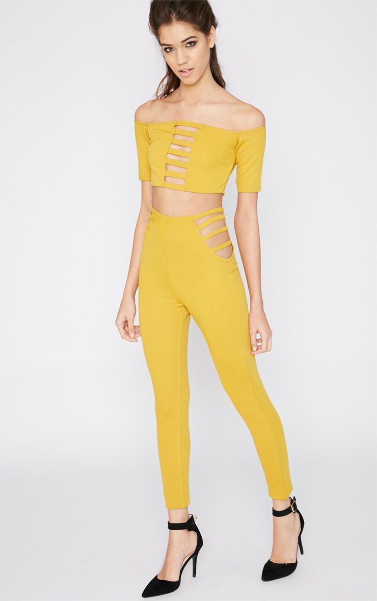 Mayra Mustard Cut Out Trouser  1